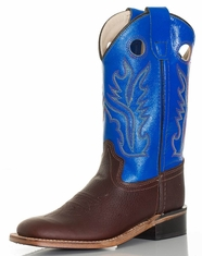 Old West Children's Broad Square Toe Boots - Brown/Blue