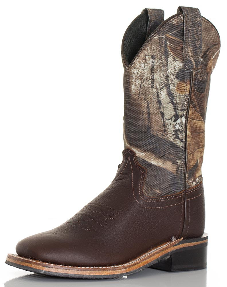 Old West Children's Broad Square Toe Boots - Brown/Real Tree Camo