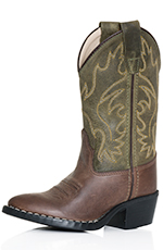 Old West Childrens Point Toe Cowboy Boot - Green/Brown (Closeout)