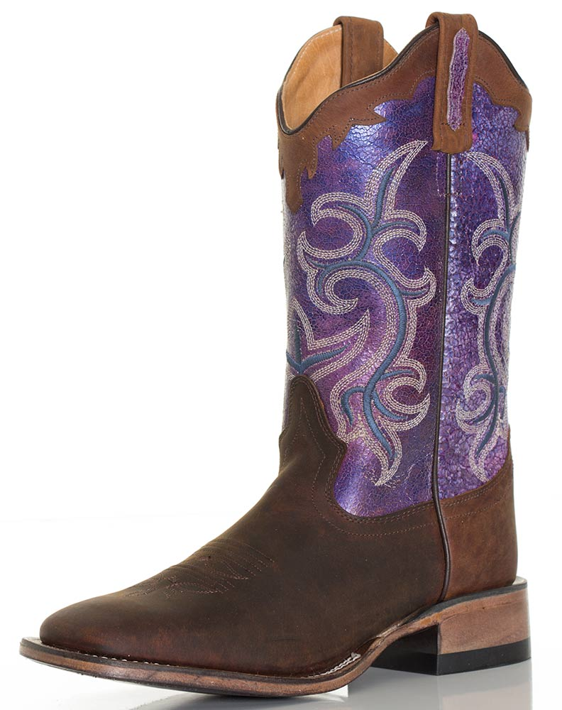 Old West Women 39 S 11 Broad Square Toe Western Boots Brown