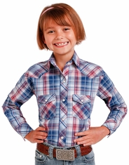 Panhandle Girl's Long Sleeve Plaid Snap Shirt - Blue (Closeout)