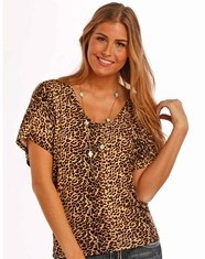 Panhandle Junior's Short Sleeve Cheetah Print Top - Brown (Closeout)