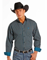 Panhandle Men's Long Sleeve Check Button Down Shirt - Blue