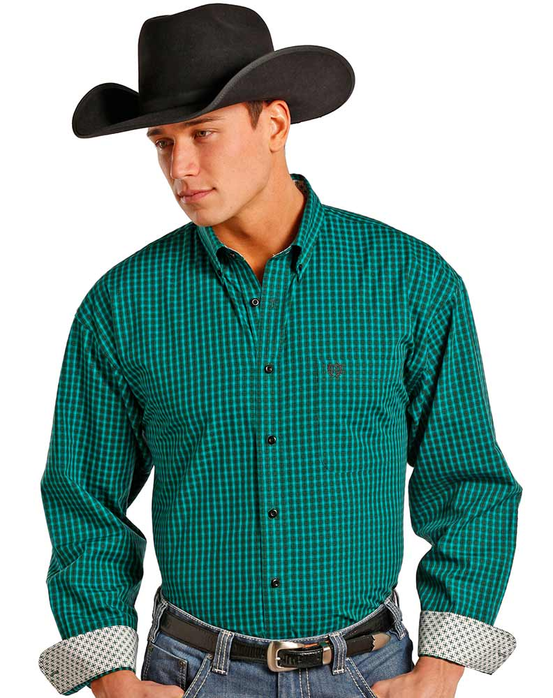 Panhandle Men's Long Sleeve Check Button Down Shirt - Green (Closeout)