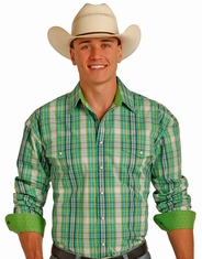 Panhandle Men's Long Sleeve Plaid Button Down Shirt - Green