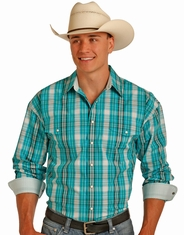 Panhandle Men's Long Sleeve Plaid Snap Shirt - Blue