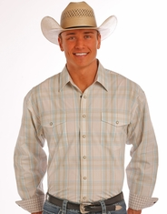Panhandle Men's Long Sleeve Plaid Snap Shirt - Tan