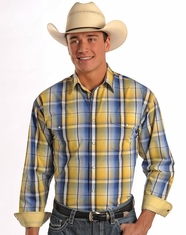 Panhandle Men's Long Sleeve Plaid Snap Shirt - Yellow (Closeout)
