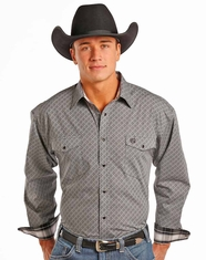 Panhandle Men's Long Sleeve Print Button Down Shirt - Black (Closeout)