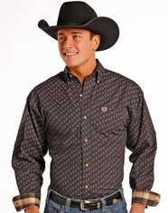 Panhandle Men's Long Sleeve Print Button Down Shirt - Brown (Closeout)
