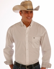 Panhandle Men's Long Sleeve Print Button Down Shirt - Natural (Closeout)