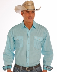 Panhandle Men's Long Sleeve Print Snap Shirt - Blue (Closeout)