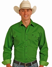 Panhandle Men's Long Sleeve Print Snap Shirt - Green