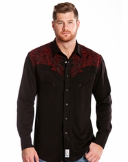 Panhandle Men's Retro Long Sleeve Embroidered Snap Shirt - Black (Closeout)