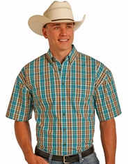 Panhandle Men's Short Sleeve Plaid Button Down Shirt - Blue