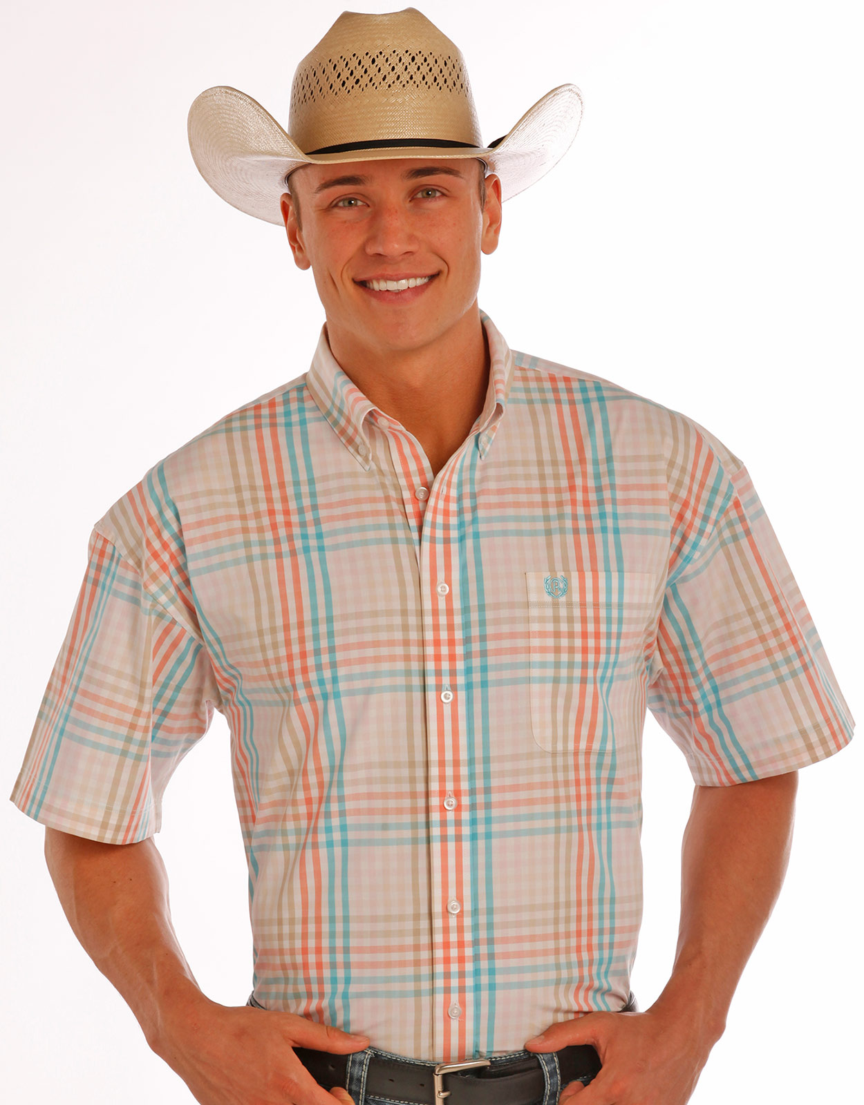 Panhandle Men's Short Sleeve Plaid Button Down Shirt - Natural