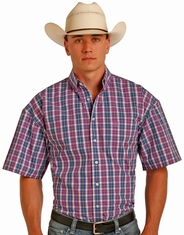 Panhandle Men's Short Sleeve Plaid Button Down Shirt - Pink