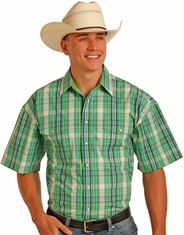Panhandle Men's Short Sleeve Plaid Snap Shirt - Green