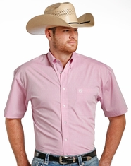 Panhandle Select Men's Short Sleeve Pattern Button Down Shirt - Pink (Closeout)