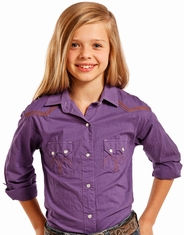 Panhandle Slim Girl's Long Sleeve Embroidered Solid Snap Shirt - Purple (Closeout)