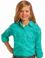 Panhandle Slim Girl's Long Sleeve Embroidered Solid Snap Shirt - Turquoise