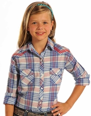 Panhandle Slim Girl's Long Sleeve Plaid Snap Shirt - Blue (Closeout)