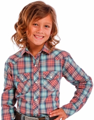 Panhandle Slim Girl's Long Sleeve Plaid Snap Shirt - Pink