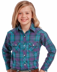 Panhandle Slim Girl's Long Sleeve Plaid Snap Shirt - Purple