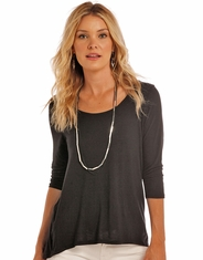 Panhandle Women's 3/4 Sleeve Solid Top - Black (Closeout)