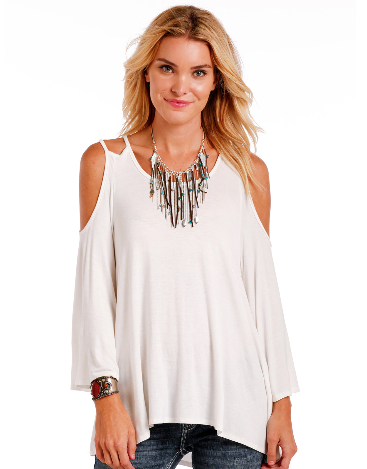 Panhandle Women's 3/4 Sleeve Solid Top - Natural