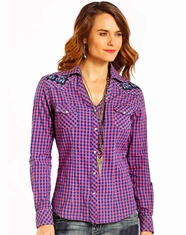 Panhandle Women's Long Sleeve Embroidered Check Snap Shirt - Blue