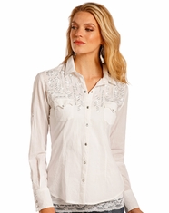 Panhandle Women's Long Sleeve Embroidered Snap Shirt- White