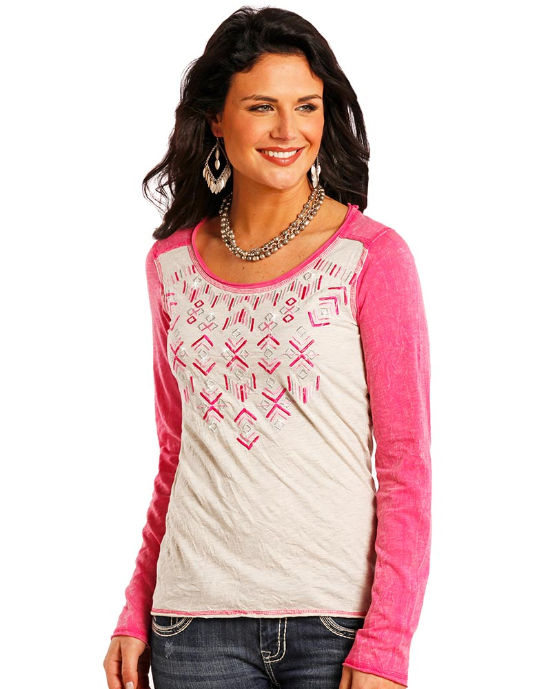 Panhandle Women's Long Sleeve Embroidered Top - Pink (Closeout)