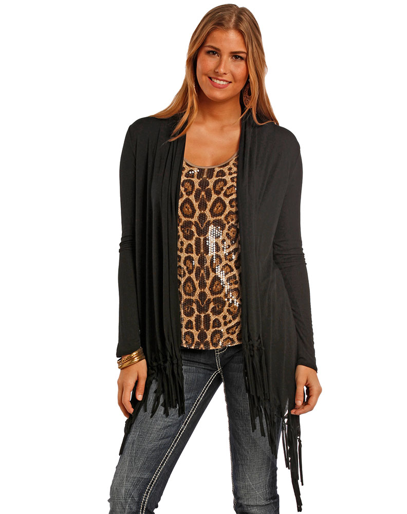 Panhandle Women's Long Sleeve Fringe Cardigan - Tan