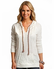 Panhandle Women's Long Sleeve Lace Pullover Hoodie - Natural (Closeout)