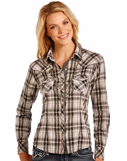 Panhandle Women's Long Sleeve Plaid Snap Shirt- Black