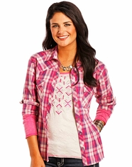 Panhandle Women's Long Sleeve Plaid Snap Shirt - Pink