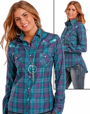 Panhandle Women's Long Sleeve Plaid Snap Shirt - Purple
