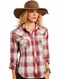 Panhandle Women's Long Sleeve Plaid Snap Shirt - Red (Closeout)
