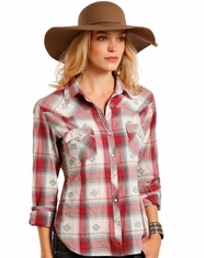 Panhandle Women's Long Sleeve Plaid Snap Shirt - Red