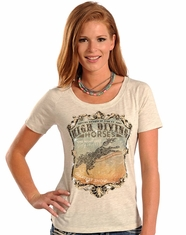 Panhandle Women's Short Sleeve Graphic Print Top - Grey (Closeout)