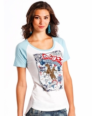 Panhandle Women's Short Sleeve Graphic Print Top - White (Closeout)