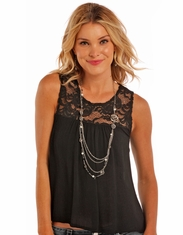 Panhandle Women's Sleeveless Solid Lace Top - Black (Closeout)