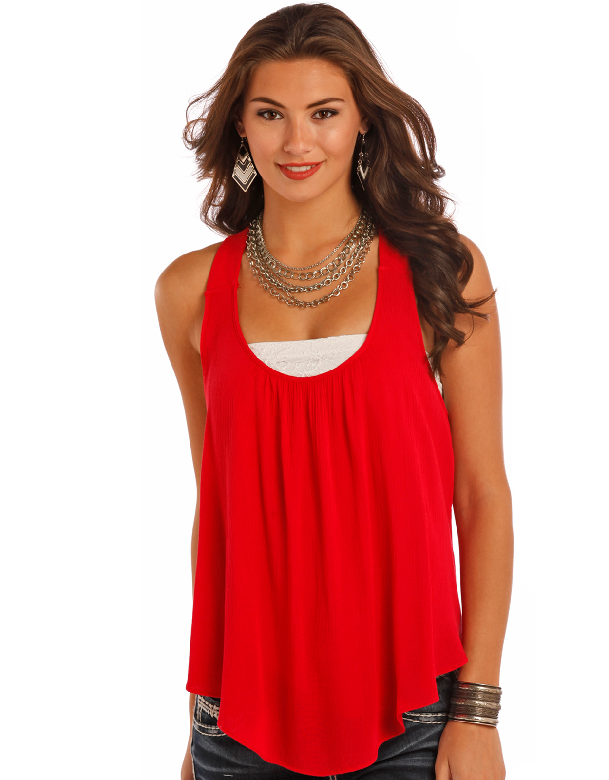 Panhandle Women's Sleeveless Solid Tank Top - Red