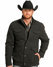 Powder River Men's Wool Diagonal Cord Coat - Black (Closeout)