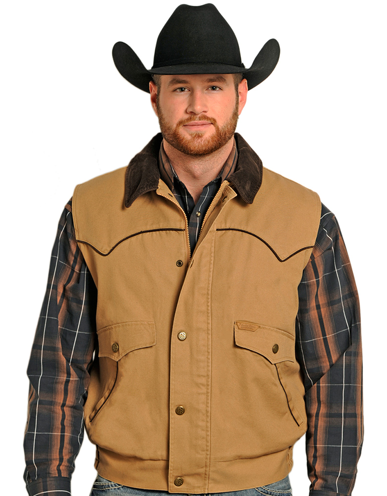 Powder River Men's Wool Lined Canvas Vest (Closeout)