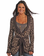 Powder River Women's Leopard Print Tie Front Sweater - Purple