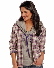 Powder River Women's Long Sleeve Brushed Plaid Snap Shirt - Purple (Closeout)