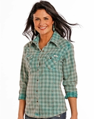 Powder River Women's Long Sleeve Brushed Plaid Snap Shirt - Turquoise