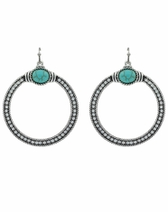 Rock 47 Crystal Open Circle Earrings - Silver (Closeout)